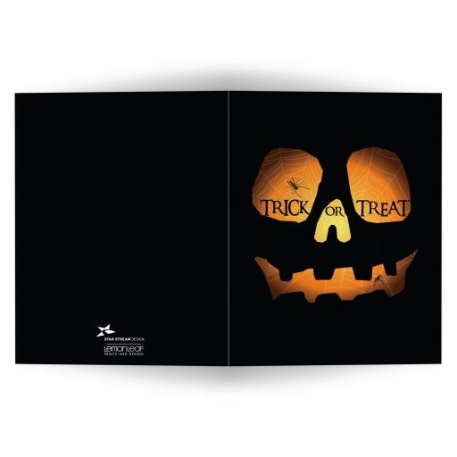 Halloween Folded Greeting Card - Evil Jack O'Lantern Trick or Treat