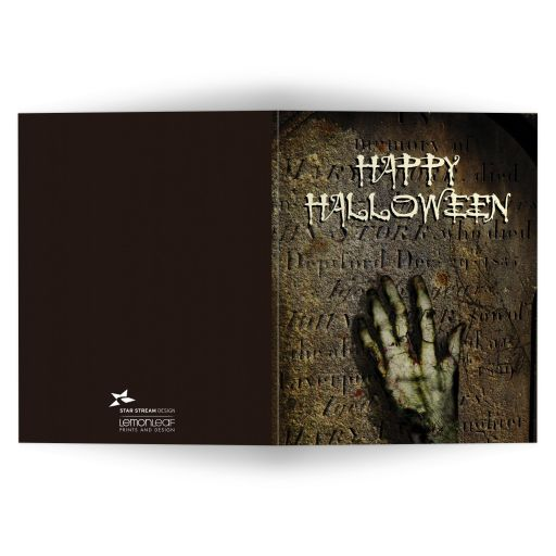 Halloween Folded Greeting Card - Rising Zombie Hand