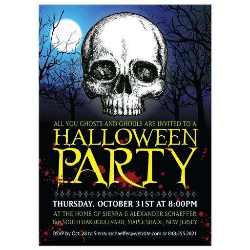 Halloween Party Invitation - Eerie Moonlight Skull