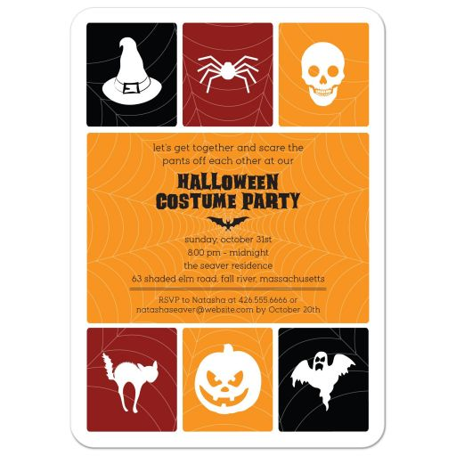 Halloween Party Invitation - Simple Icon Grid