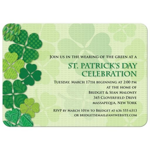 St Patricks Day Party Invitation - Clover Patterns