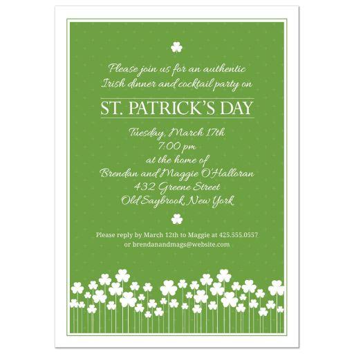 St Patricks Day Party Invitation - Shamrock Garden