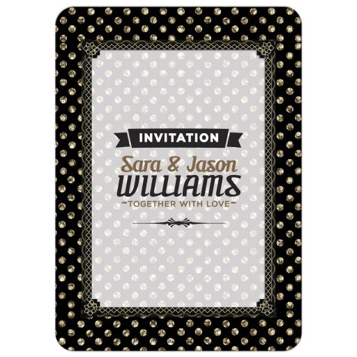 Polka Gold Dots Deco Wedding Invitation