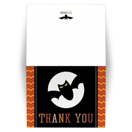 Orange chevron pattern and black bat Halloween thank you card
