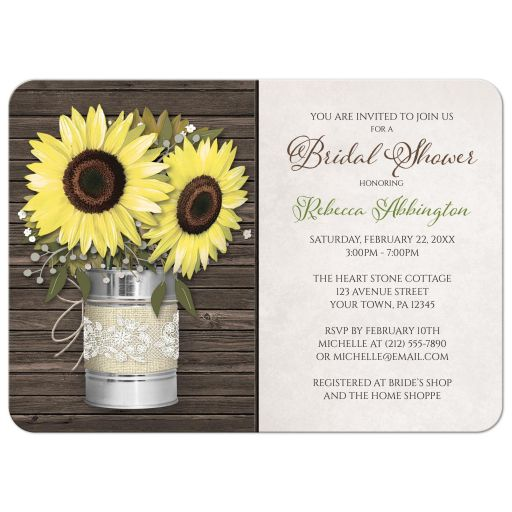 Bridal Shower Invitations - Rustic Burlap & Lace Tin Can Sunflower