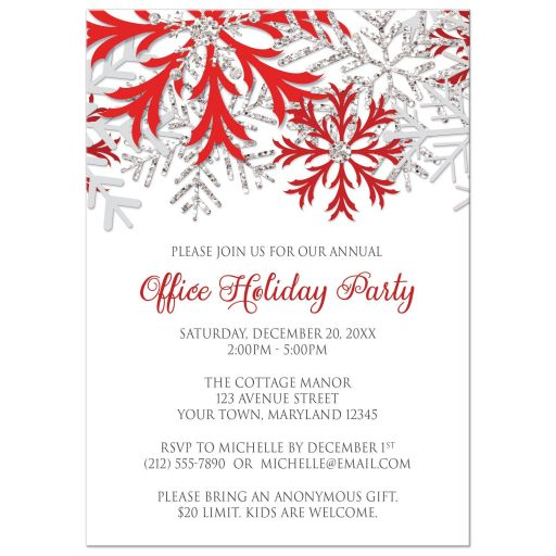Holiday Party Invitations - Red Silver Snowflake Winter