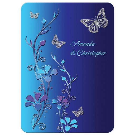 Royal blue, turquoise, silver butterfly floral wedding invitation