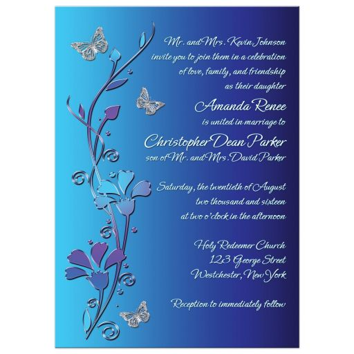 wedding invite with silver butterflies on royal blue background with teal and purple flowers