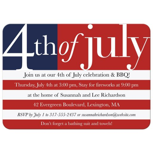 Independence Day Party Invitation - US Flag 4th of July