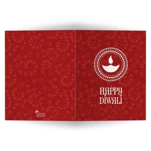 Diwali Greeting Card - Red Paisley Happy Diwali Lamp