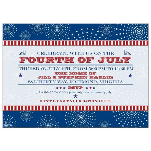 Independence Day Party Invitation - Vintage Patriotic Rosettes