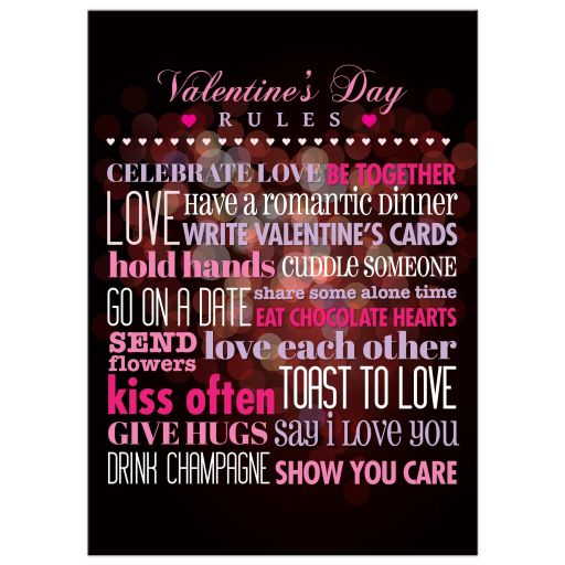 5x7 Art Print - Rules for Valentine's Day Bokeh Heart