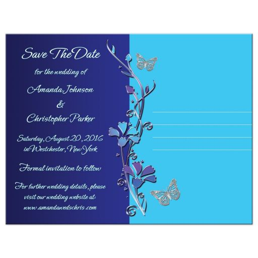 royal blue, teal, purple, photo save the date post card with butterflies