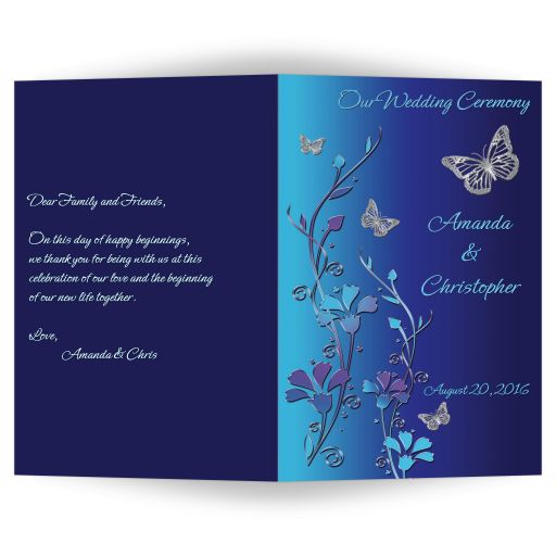 Wedding Program in royal blue, turquoise, purple flowers and silver butterflies