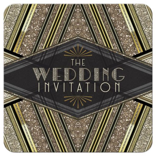 Art Deco Black Gold Glitter Wedding