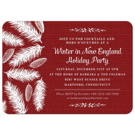 Holiday Party Invitation - Red Wintry Pine Christmas