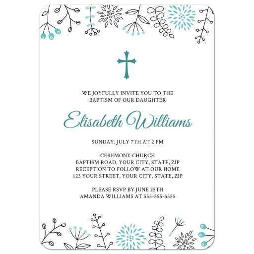 Modern nature and flower doodle border christening or baptism invite, aqua blue version.