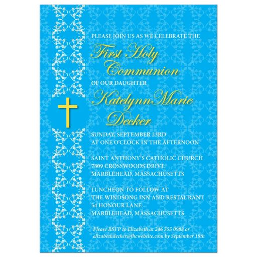 First Holy Communion Invitation - Blue Damask Strip