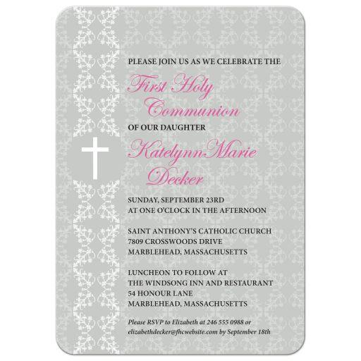 First Holy Communion Invitation - Gray Damask Strip