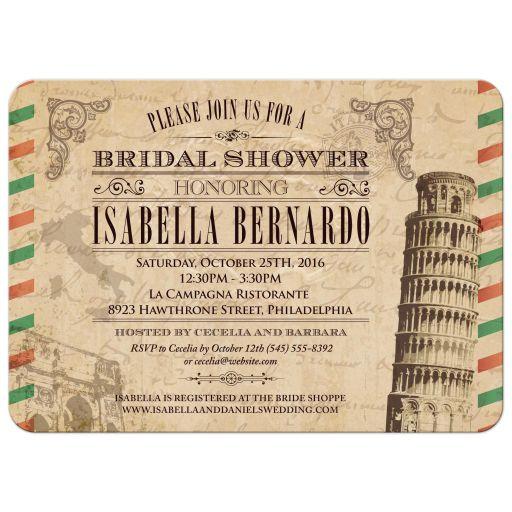 Bridal Wedding Shower invitation - Vintage Italian Airmail