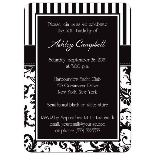 milestone black and white birthday invite