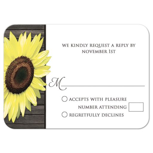 RSVP Reply Cards - Rustic Sunflower Wood
