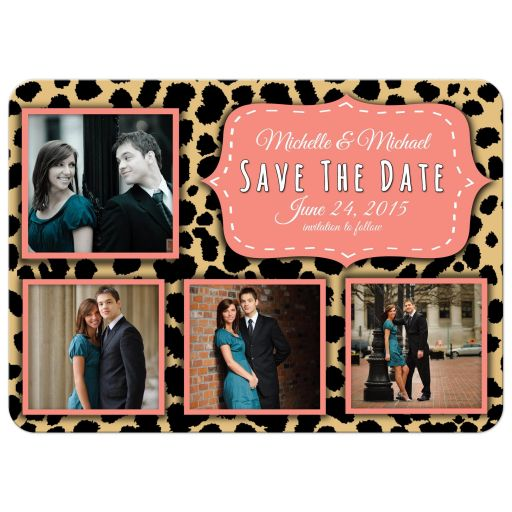 Funky Leopard And Peach Save The Date Photo Announcements