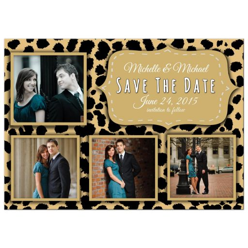Funky Leopard And Lemon Save The Date Photo Announcements
