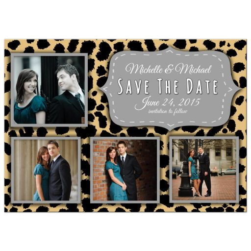 Funky Leopard And Silver Save The Date Photo Announcements