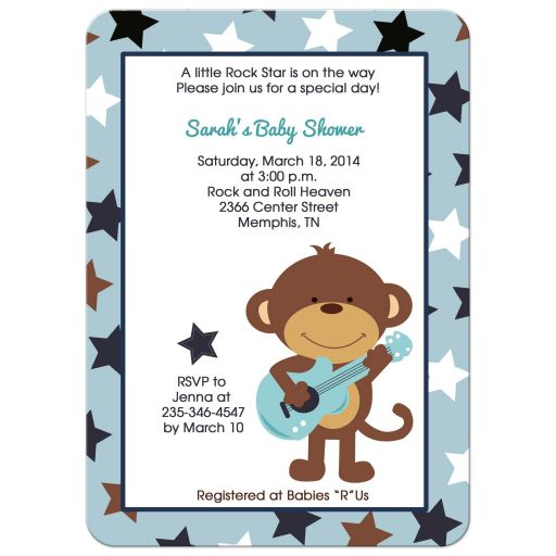 Rock Star Monkey Baby Shower Invitation