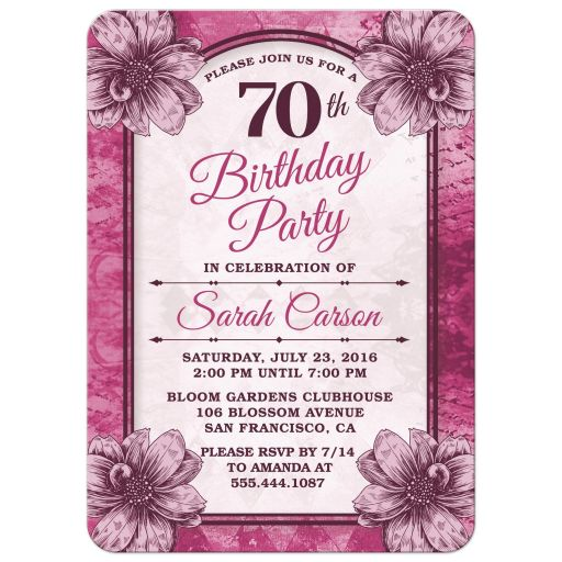 Fuchsia Flowers 70th Birthday Party Invitations front