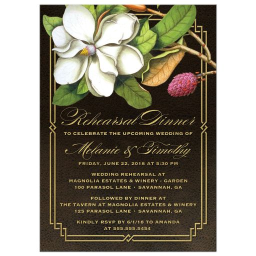Elegant Vintage Southern Magnolia Wedding Rehearsal Dinner Invitations front