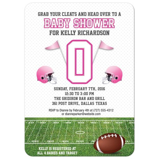 Baby Shower invitation - Pink Football