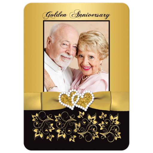 Black and Gold 50th Wedding Anniversary Invitation with Photo