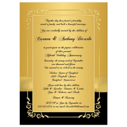 Gold and black golden wedding anniversary invite with photo and joined hearts
