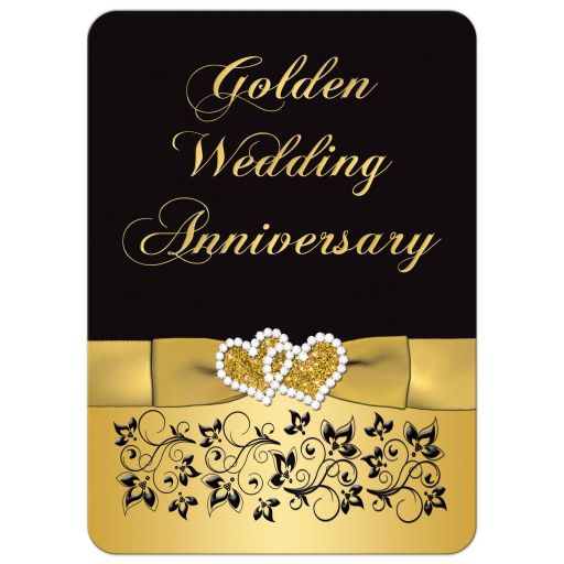 50th Wedding Anniversary Invitation in black and gold floral with joined hearts
