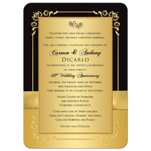 romantic black and gold floral, joined hearts golden wedding anniversary invitation