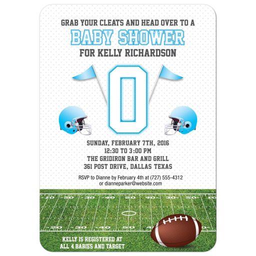 Baby Shower invitation - Light Blue Football