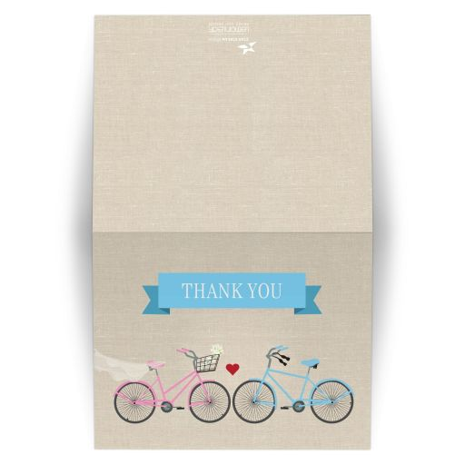 Thank You Card -  Bride and Grooms Bicycle Wedding