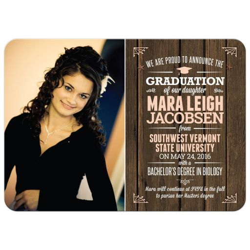 Graduation Photo  Announcement - Rustic Typographic Wood Slat