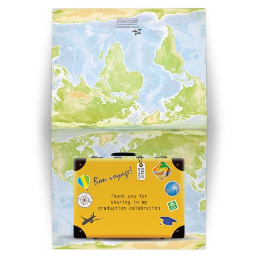 Thank You Card - World Travel Graduation Suitcase