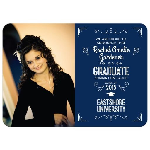 Graduation Photo Announcement - Typographic Wood Slat