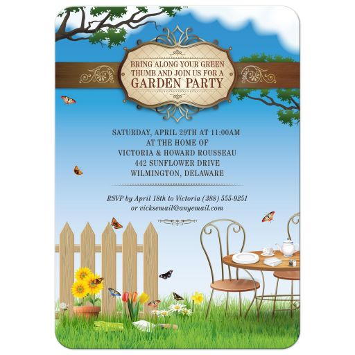 Party Invitation - Flowering Garden Tea Party