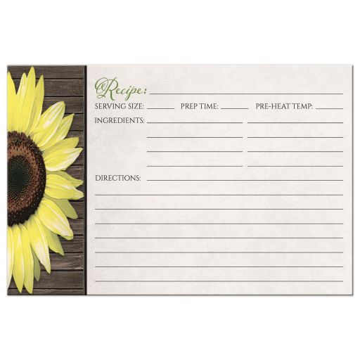 Recipe Cards - Rustic Sunflower and Wood