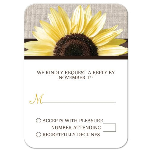 Wedding RSVP - Rustic Sunflower Linen and White