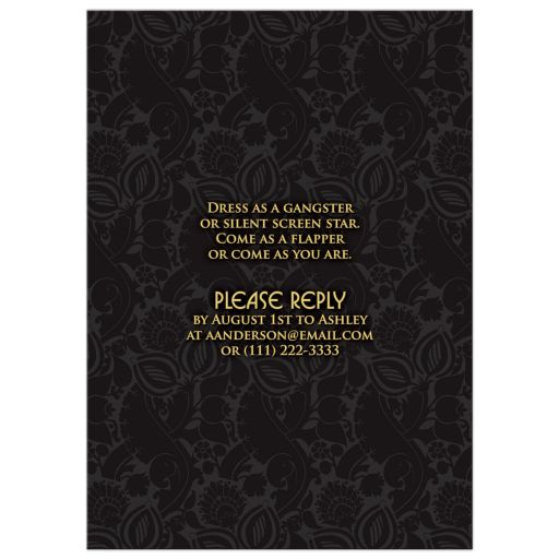 ​Roaring 20s art deco black and gold damask engagement party invitation back