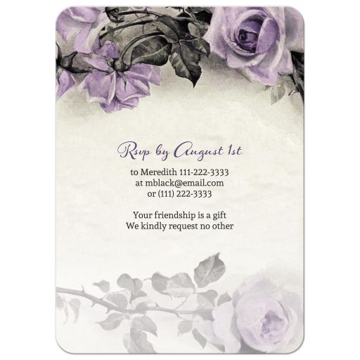 Vintage purple, grey, and ivory rose 75th birthday party invitation back
