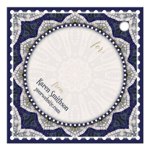 Blue Gold Sparkle Mandala Gift Tag
