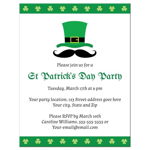 St Patricks day party invite with shamrock clover borders, hat and funny mustache.
