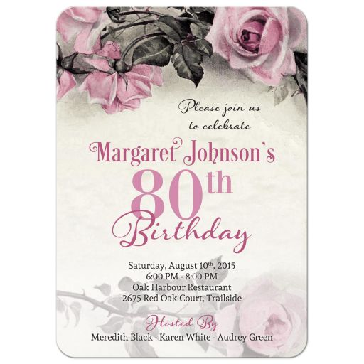 Vintage pink, grey (gray), and ivory rose 80th birthday party invitation front